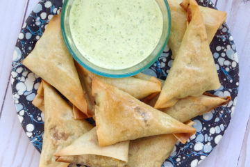 Sweet and Spicy Chicken Samosas with Cilantro Dip
