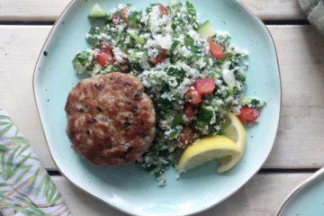 Cauliflower Tabbouleh with Falafel Chicken Patties