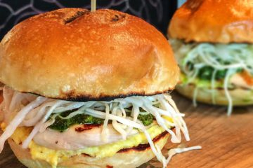 Grilled Chicken, Creamed Corn and Cilantro Coleslaw Sandwich