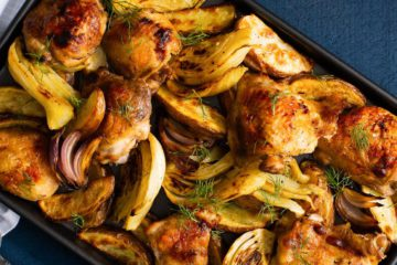 Sheet Pan Roast Chicken Thighs with Fennel and Potatoes